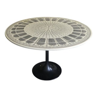 Neoclassical Fornasetti Black and White Coliseum Dining Table For Sale