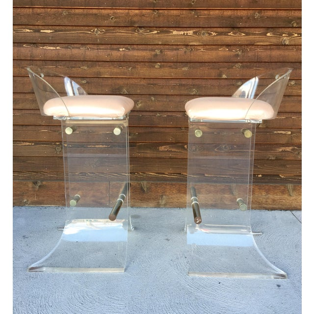 Contemporary Hill Manufacturing Lucite & Brass Bar Stools - a Pair For Sale - Image 3 of 10