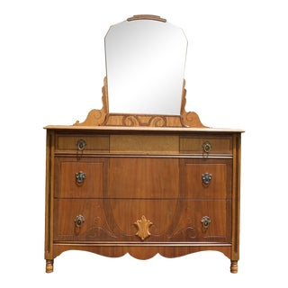 Vintage Kaplans Furniture French Style Art Deco Dresser & Mirror Chest For Sale
