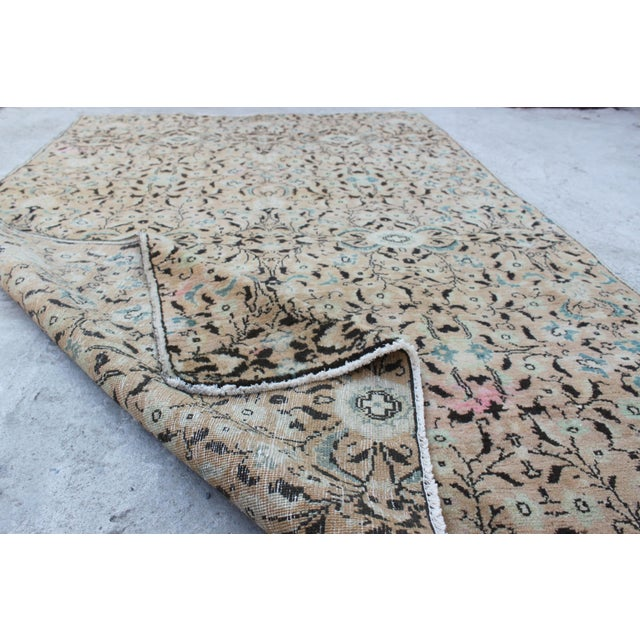 Handmade Anatolian Oushak Wool Rug - 4′4″ × 7′1″ - Image 6 of 6