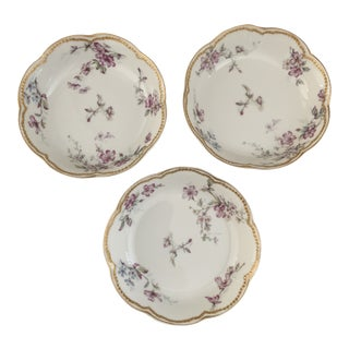 Antique French Haviland Limoges Porcelain Desert Bowls- Set of Three For Sale