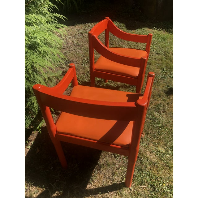 "Modern 1960s Vintage Vico Magistretti ""Carimate"" Chairs for Cassina- A Pair For Sale - Image 3 of 11"