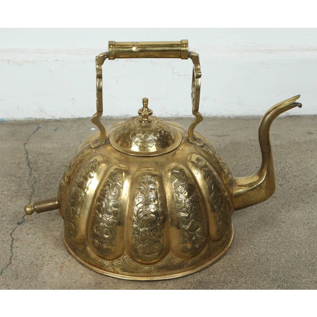 Gold Moroccan Brass Kettle on Stand Handcrafted in Fez Morocco For Sale - Image 8 of 11