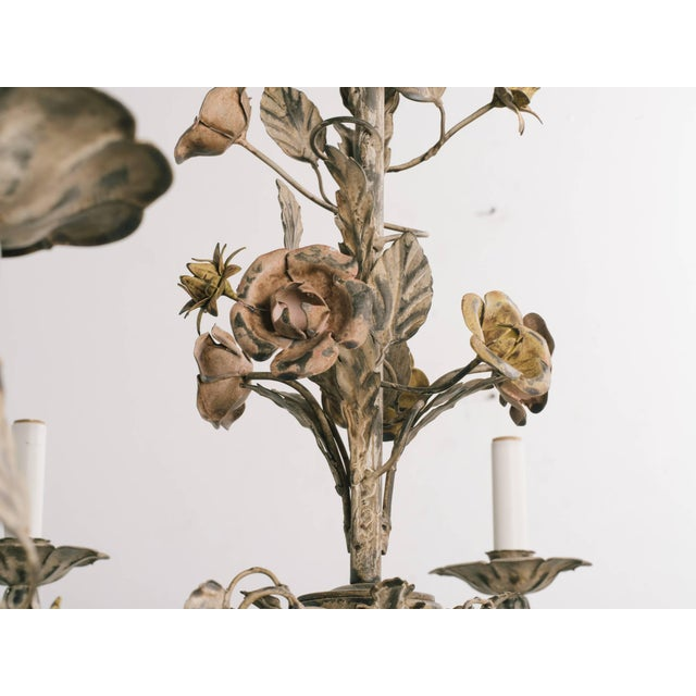 Brown 1960s Italian Tole Floral Chandelier For Sale - Image 8 of 9
