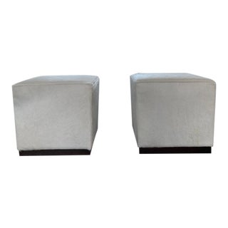 Robertson Hair on Hide Ottomans - a Pair For Sale