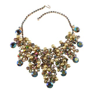 Juliana Bib Necklace Iridescent Rhinestones Gold Textured Dangle Beads For Sale