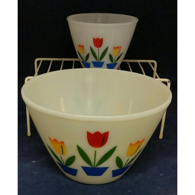 """Vintage Fire King Tulip Mixing Bowls Large Bowl Measures: 6""""T x 9 1/2""""W Small Bowl/Grease Jar Measures: 4""""T x 5 1/2""""W..."""