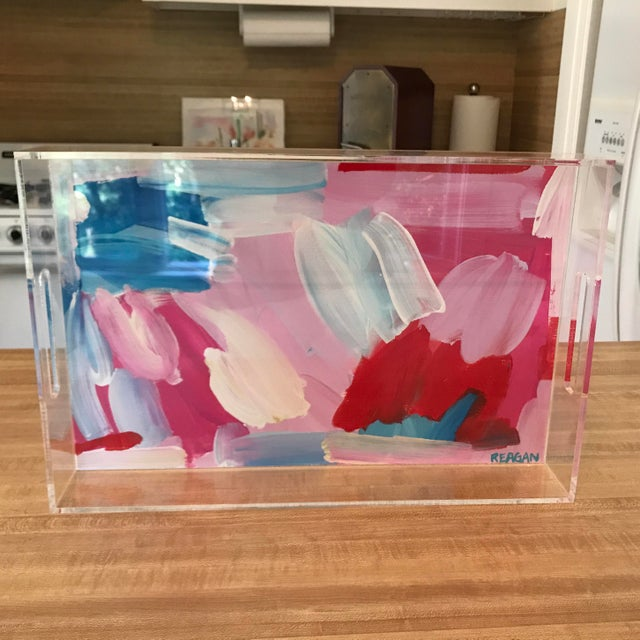 Pink and Blue Painted Chinoiserie Acrylic Tray For Sale - Image 10 of 11