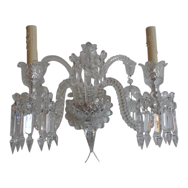 French 1970s Diamante Baccarat Crystal Clear Wall Sconce Chairish