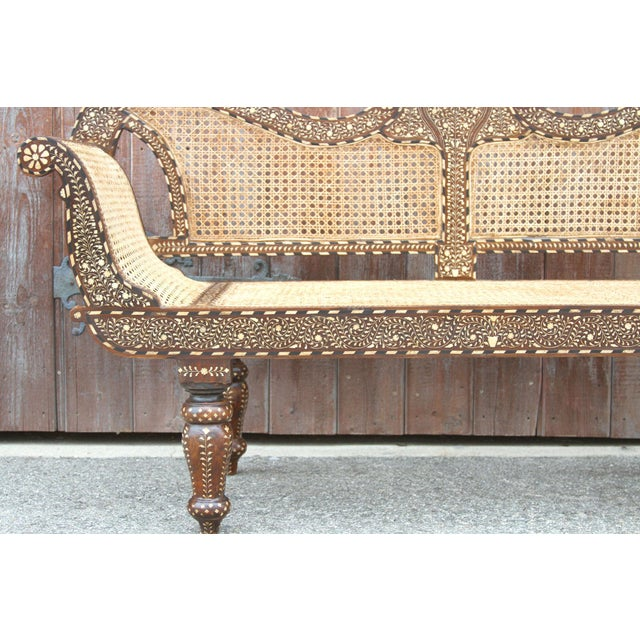2010s Majestic Royal Bone Inlay Settee Bench For Sale - Image 5 of 10