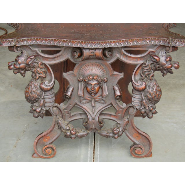 Italian 19th C. Horner Style Figural Carved Bench - Image 2 of 9