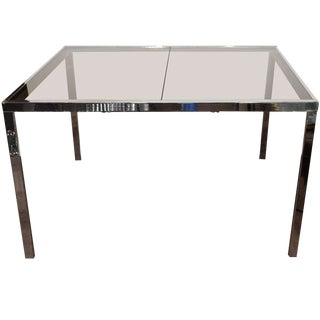 Mid-Century Chrome and Grey Glass Extension Dining Table by DIA For Sale