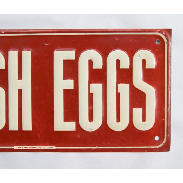 Farmhouse Vintage Metal Fresh Eggs Sign For Sale - Image 3 of 5