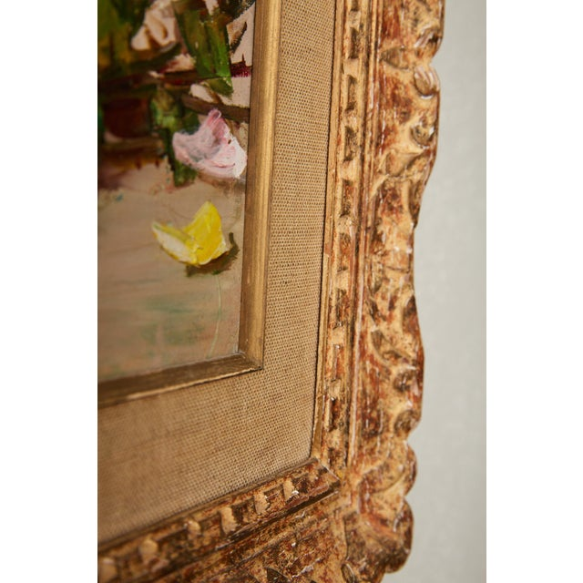 Canvas Vintage French Still Life of Roses by Simone Lalanne Bascle, Circa 1940s For Sale - Image 7 of 9