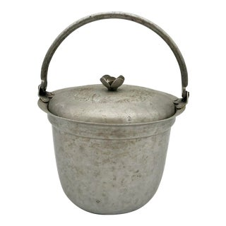 1940s Pewter Etched Rose Ice Bucket For Sale