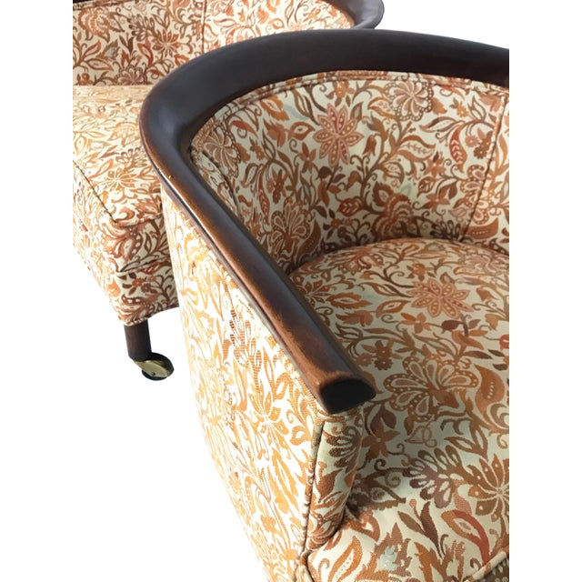 Orange Mid Century Tomlinson Style Barrel Back Club Chairs- A Pair For Sale - Image 8 of 10