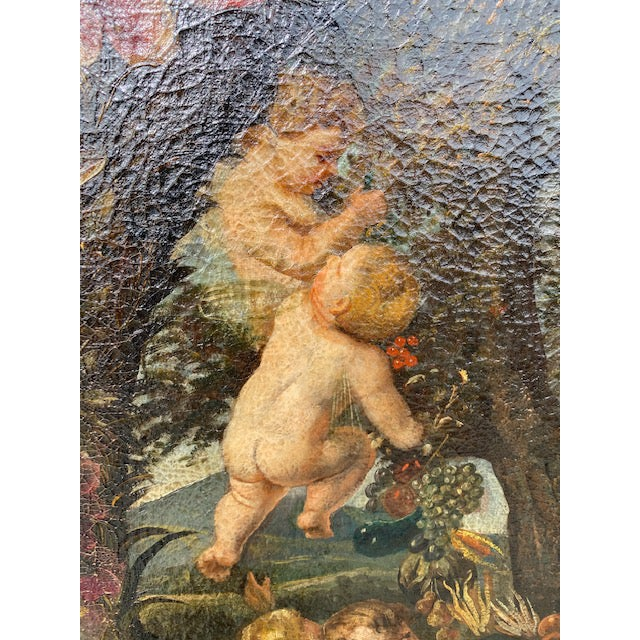 Red 17th C. Italian Flemish Cherub Painting With Floral Wreath Motif For Sale - Image 8 of 9