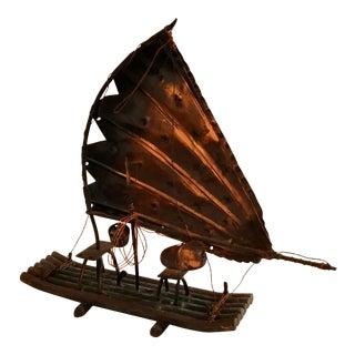 Chinese Folk Art Copper Boat Model