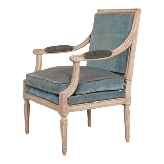 French 19th Century Louis XVI-Style Painted Fauteuil For Sale