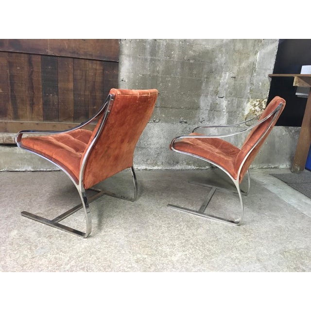 Bert England Brueton Steel Frame Cantilevered Lounge Chairs- a Pair For Sale - Image 9 of 11