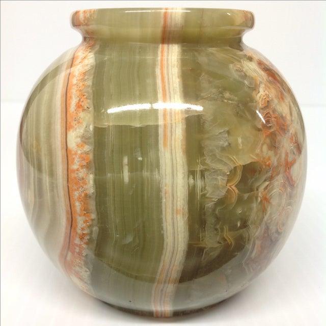 Sage Green & Orange Carved Hard Stone Vase For Sale - Image 5 of 6