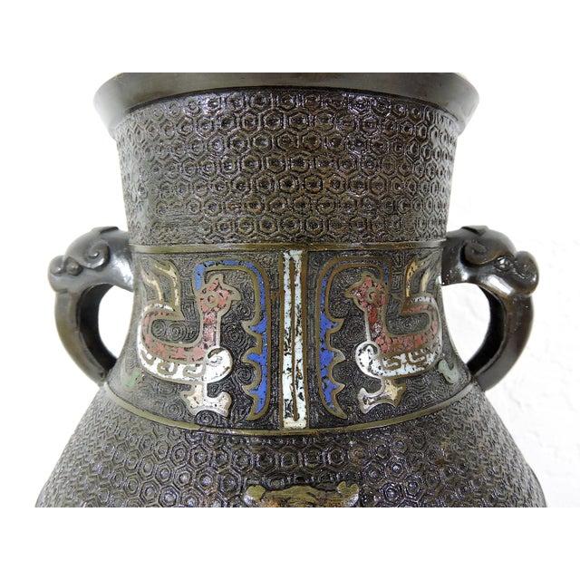 Japanese Antique Japanese Archaic Bronze & Multi Coloured Cloisonné Elephant Handled Table Lamp For Sale - Image 3 of 9