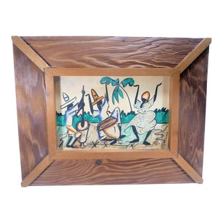 Vintage Mid-Century Haitian Dancing Scene Watercolor Painting For Sale