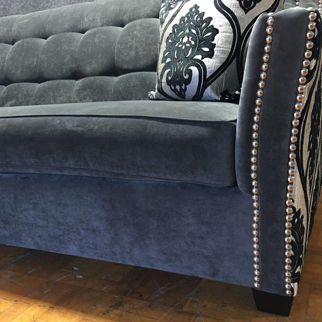 Fleur-De-Lis Studded Sofa For Sale In Los Angeles - Image 6 of 9