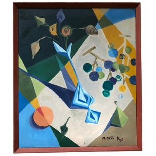 1980s Vintage Mariko Nutt Cubist Still Life Painting For Sale