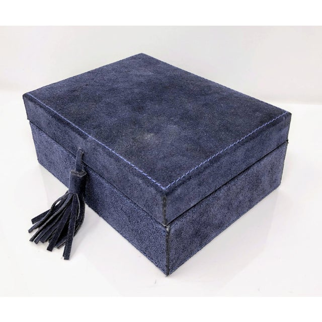 Animal Skin Ralph Lauren Inspired Navy Blue Suede Leather Box - Medium For Sale - Image 7 of 11