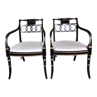 Late 20th Century Baker Historic Charleston Governor Alston Arm Chairs- A Pair For Sale