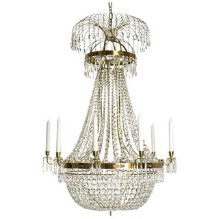 Empire 10 Arm Polished Brass Octagon Chandelier For Sale