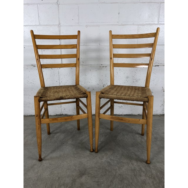 Mid-Century Italian Beech Wood Ladder Back Chairs Gio Ponti Style, Pair For Sale - Image 10 of 10