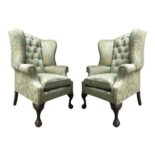 Pair of Chippendale Style Tufted Wingback Chairs For Sale