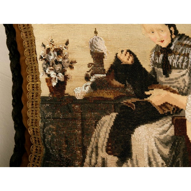 Gray c.1880 The Best Antique English Folk Art Hand-Beaded Pillow Ever For Sale - Image 8 of 10