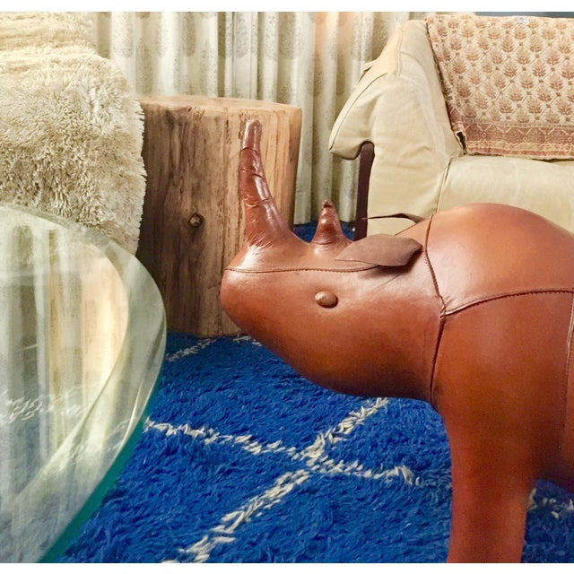 Animal Skin Leather Rhino Stool For Sale - Image 7 of 9