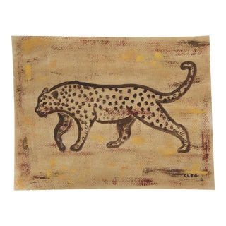 Minimalist Leopard Painting in Sepia by Cleo Plowden For Sale
