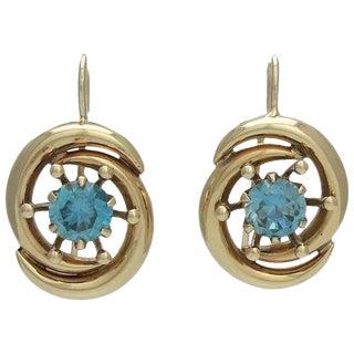 Retro 14k Gold Blue Zircon Pierced Earrings For Sale