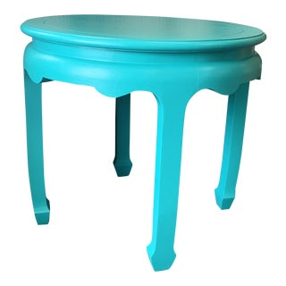1970s Chinoiserie Turquiose Side Table For Sale