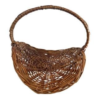 Vintage Large Flower Gathering Basket For Sale