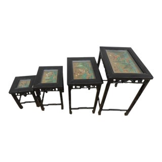 Chinoiserie Asian Lacquer Hardstone Nesting Tables - 4 Pieces For Sale