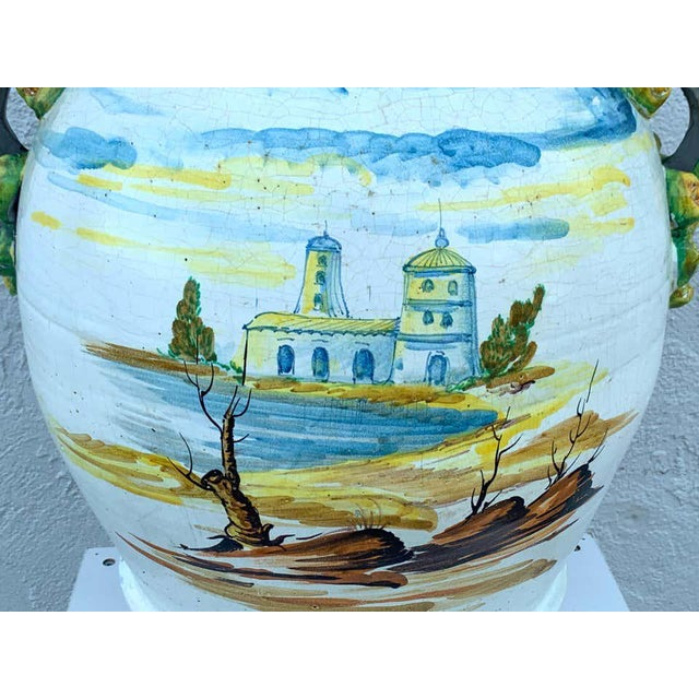 Italian Majolica Scenic Olive Oil Jar/ Jardinière, Provenance Celine Dion For Sale - Image 9 of 12