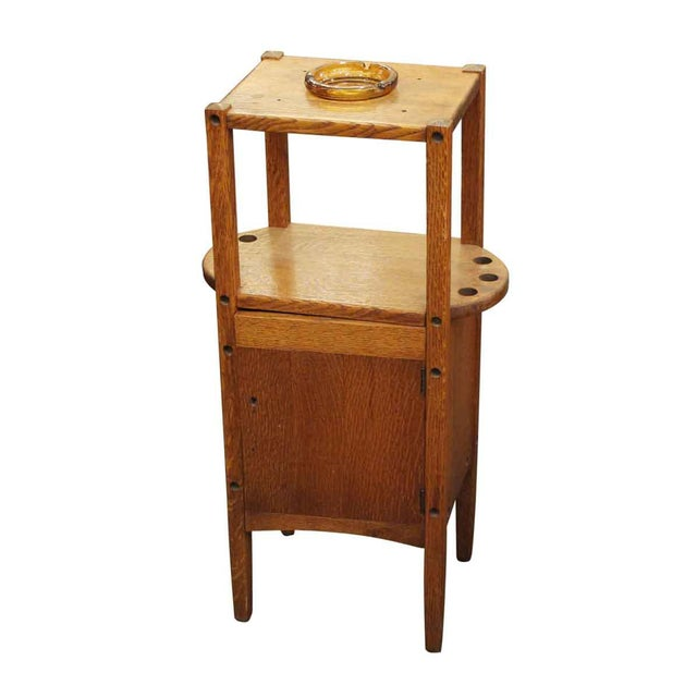 Brown 20th Century Arts and Crafts Humidor Oak Pipe & Ashtray Stand For Sale - Image 8 of 8