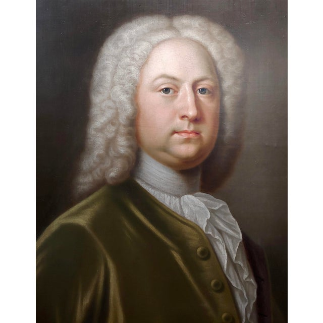 Portrait of an English Aristocrat in Green Coat-18th Century Oil Painting Possibly by Thomas Hudson For Sale - Image 4 of 11