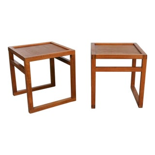 Vintage Scandinavian Modern Pair of Square Open Cube Side Tables in Teak For Sale