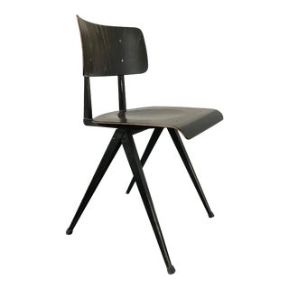 Dark Wood Chair With Triangle Steel Base