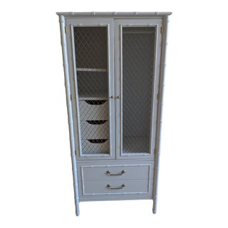 1960s Thomasville Faux Bamboo White Gloss Cabinet For Sale