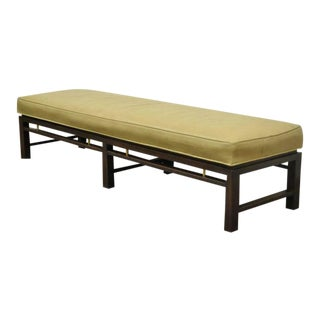 Mid Century Modern Edward Wormley for Dunbar Leather Upholstered Mahogany Bench For Sale