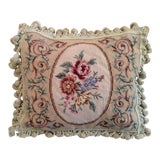 Image of Vintage Floral Needlepoint Tassel Velvet Pillow For Sale