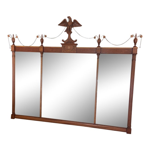 Federal Style Three Panel Eagle Mirror For Sale
